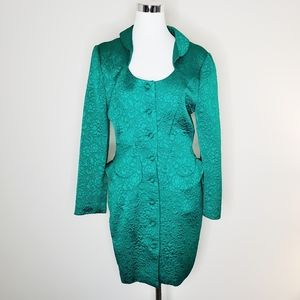 Vintage Faust Green Quilted Peplum Coat Size 40